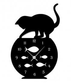 Laser Cut Naughty Cat Fish Tank Modern Wall Clock Home Decor Free Vector