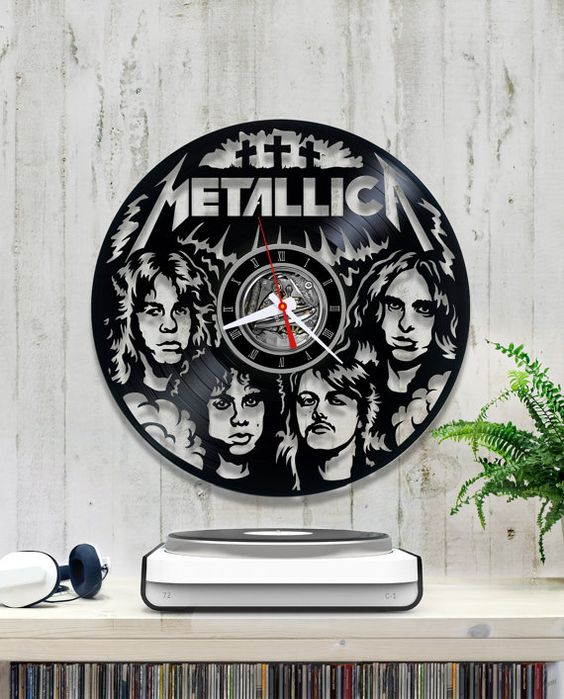 Laser Cut Metallica Vinyl Wall Clock Free Vector
