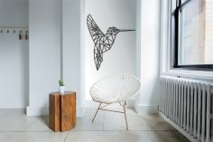Laser Cut Hummingbird Geometric Polygonal Modern Wall Art Free Vector