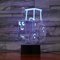 Laser Cut Tractor Ted 3D Optical Illusion LED Lamp Hologram Free Vector