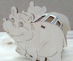 Laser Cut Hippo Pencil Holder Desk Organizer Free Vector