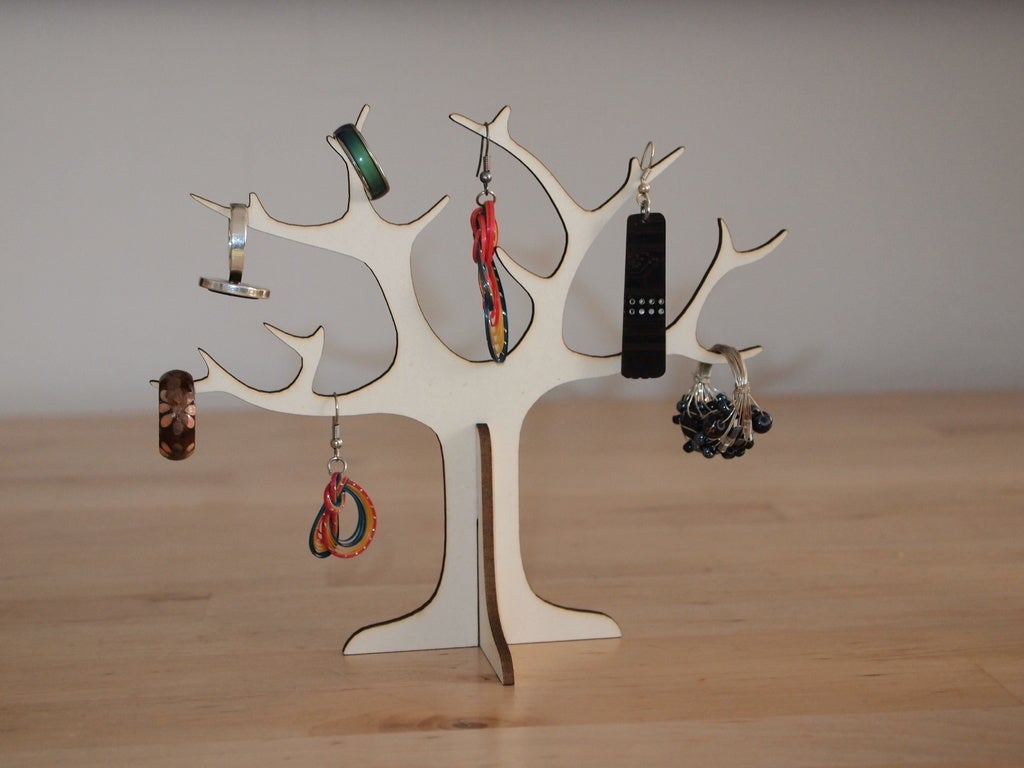 Laser Cut Wooden Tree Jewelry Stand Ring Holder DXF File