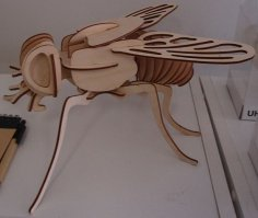Wooden Fly 3D Model Laser Cut Template Free Vector