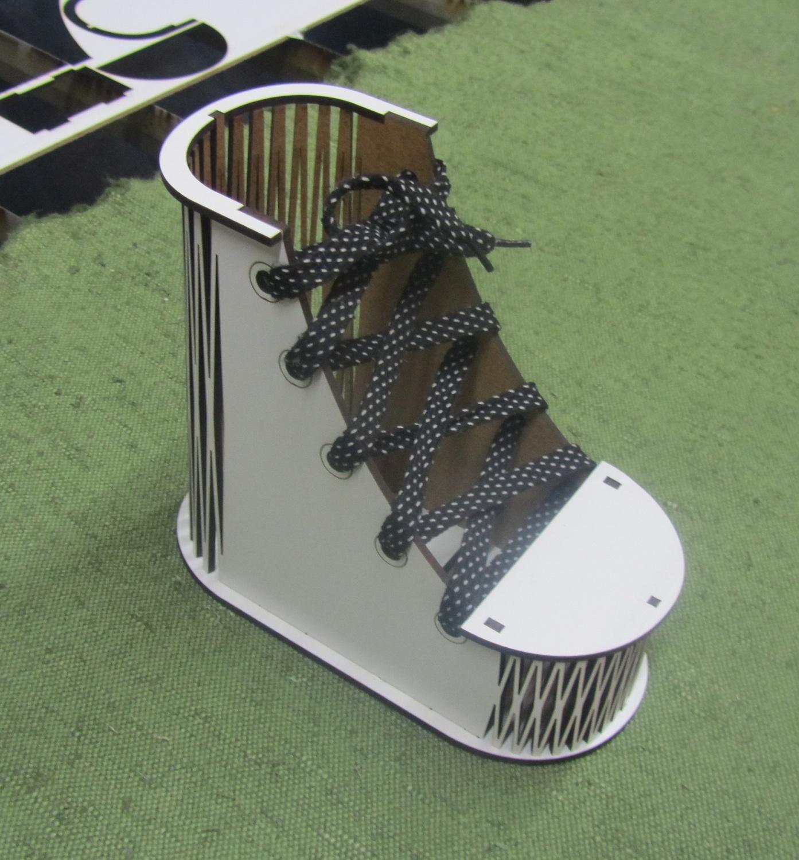 Laser Cut Shoe Shape Pencil Case Pencil Box Pencil Holder Free Vector