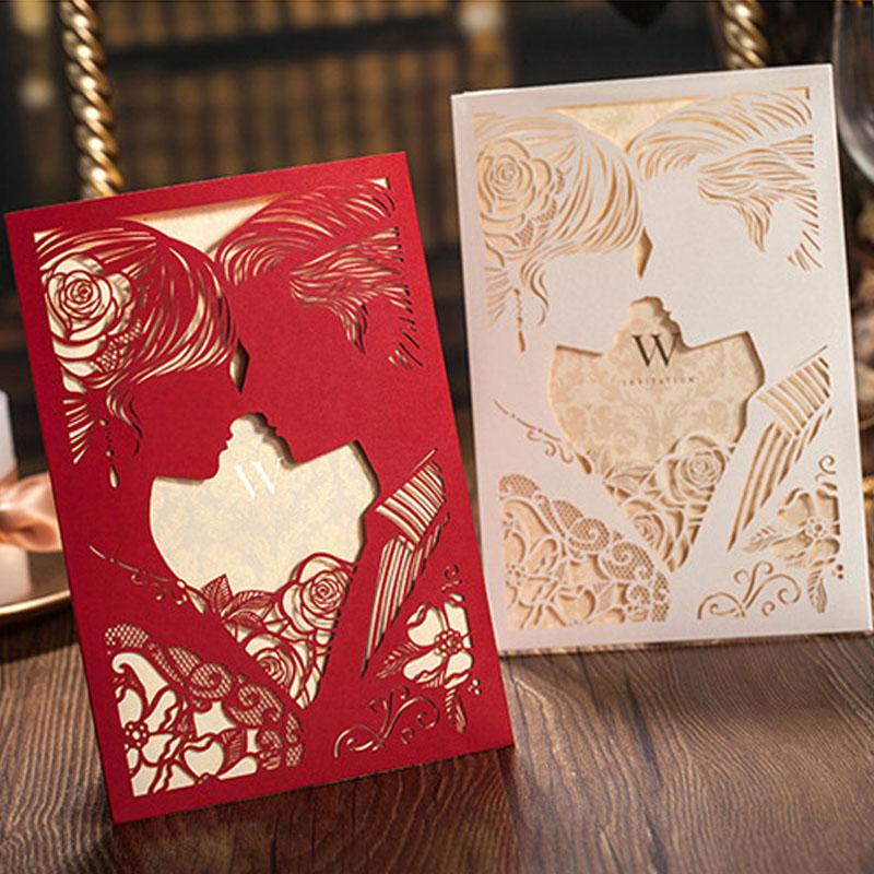 Invitation Card Couple Design Laser Cutting Template Free Vector