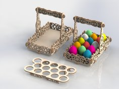 Laser Cut Wooden Decorative Easter Basket DXF File