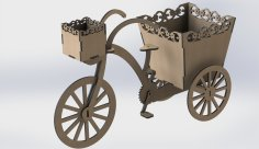 Laser Cut Decorative Tricycle Flower Box DXF File