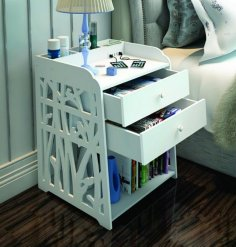 Laser Cut Bedside Table Shelf Storage Cabinet Free Vector
