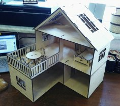 Laser Cut Wooden Dollhouse For Kids DXF File