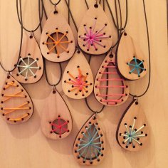 Laser Cut Wood Craft Jewelry Pendants Earrings DXF File