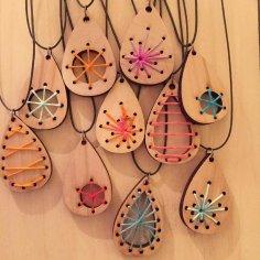 Laser Cut Wood Craft Jewelry Pendants Earrings DXF File