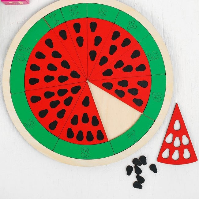 Laser Cut Watermelon Math Game Educational Toy For Kids Free Vector