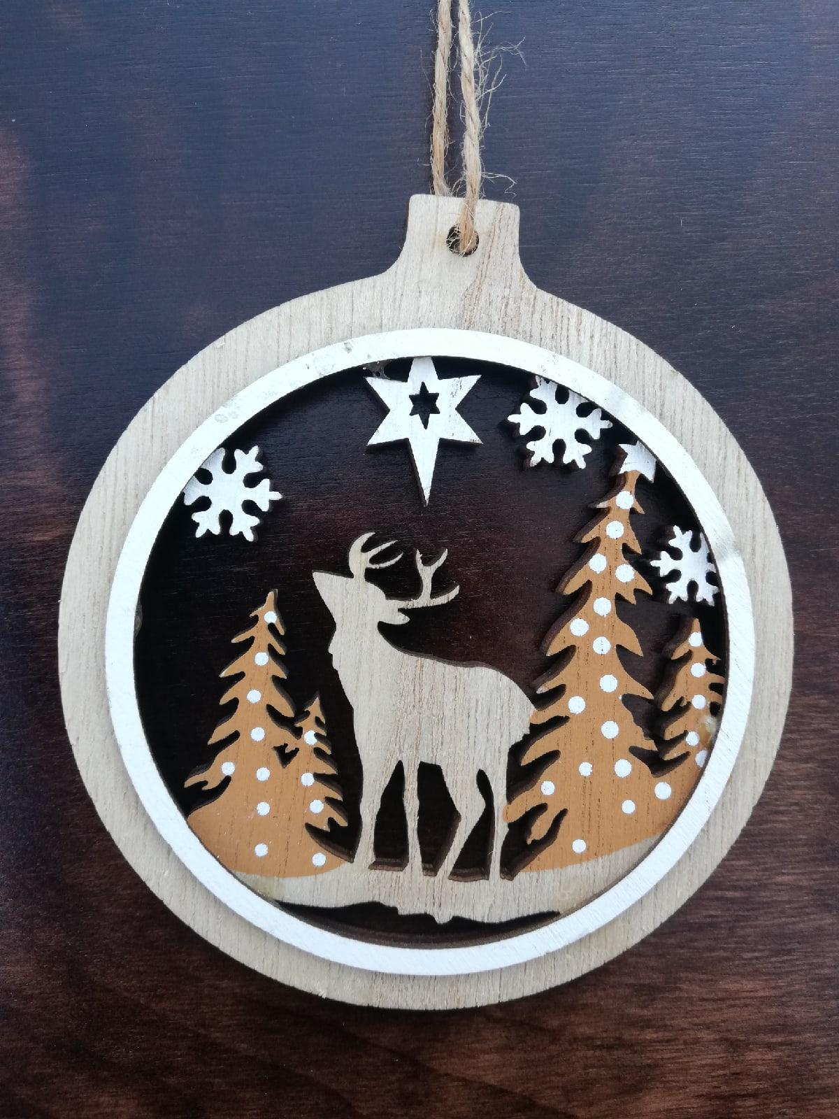 Laser Cut Christmas Themed Pendant Christmas Ball Ornament Free Vector