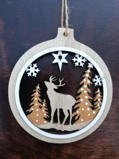 Laser Cut Christmas Themed Pendant Christmas Ball Ornament Free Vector