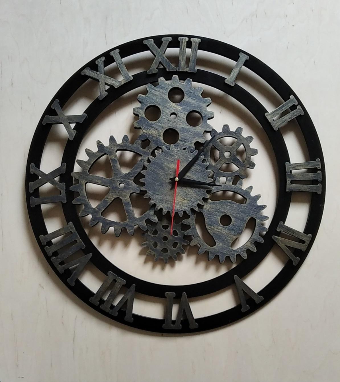 Laser Cut Roman Numerals Gear Clock Free Vector