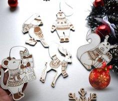 Laser Cut Animal Christmas Ornaments Free Vector