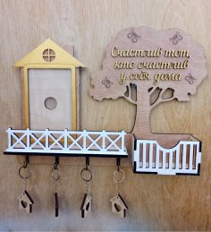 Laser Cut Decorative Wall Mounted Key Hanger With Shelf Free Vector