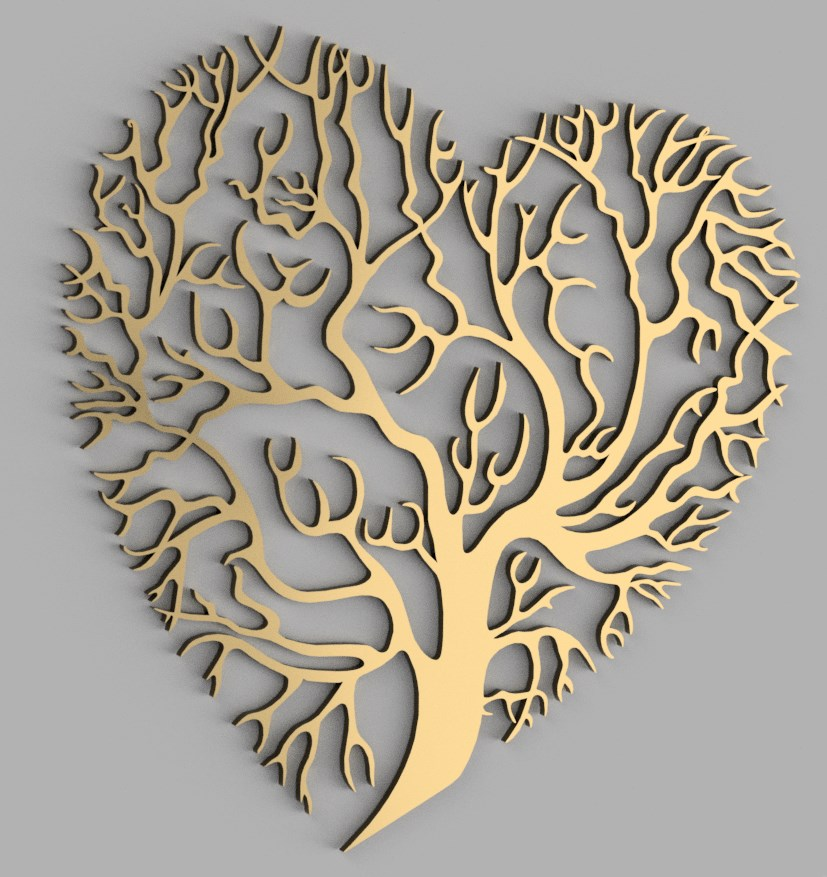 Laser Cut Heart Tree Wall Decor Free Vector