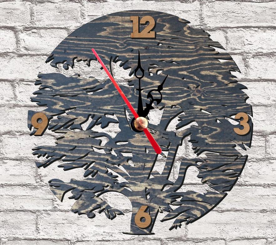 Laser Cut Tree Wall Clock Free Vector