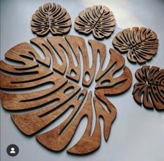Laser Cut Cheese Plant Leaf Coasters Wooden Monstera Coaster Free Vector