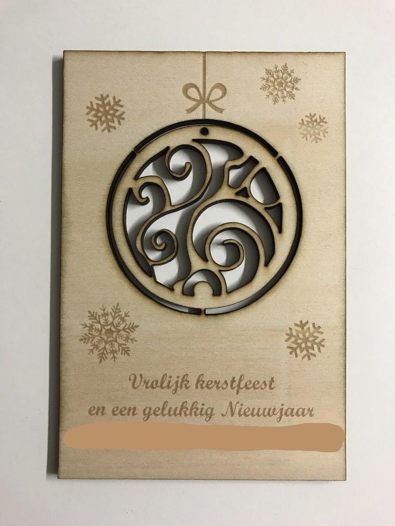 Laser Cut Christmas Greeting Card SVG File