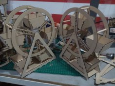 Laser Cut Ferris Wheel 3mm MDF Free Vector