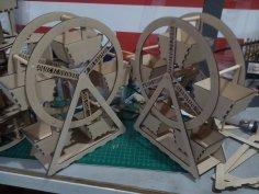 Laser Cut Ferris Wheel 3mm MDF Free Vector