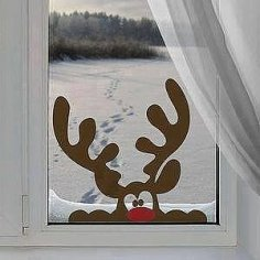 Laser Cutting Deer Window Decor Free Vector