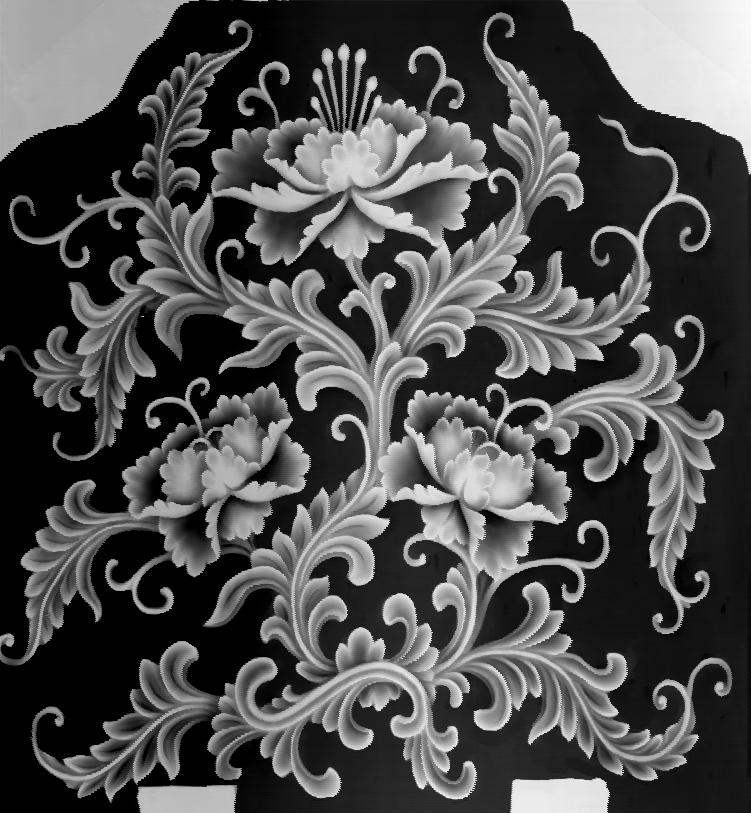 Flowers Grayscale Relief Image BMP File