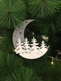 Laser Cut Moon Christmas Decoration Free Vector