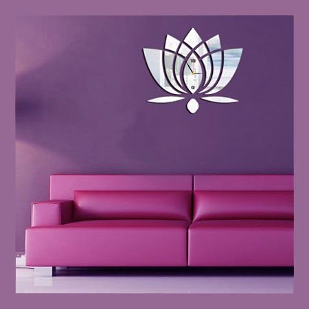 Laser Cut Lotus Flower Wall Clock Template Free Vector