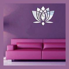 Laser Cut Lotus Flower Wall Clock Template Free Vector