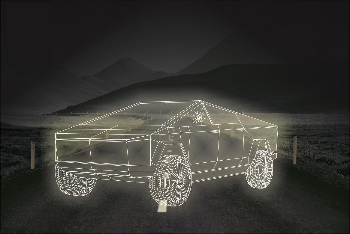 Laser Cut Cyber Truck Acrylic Night Light Lamp Free Vector