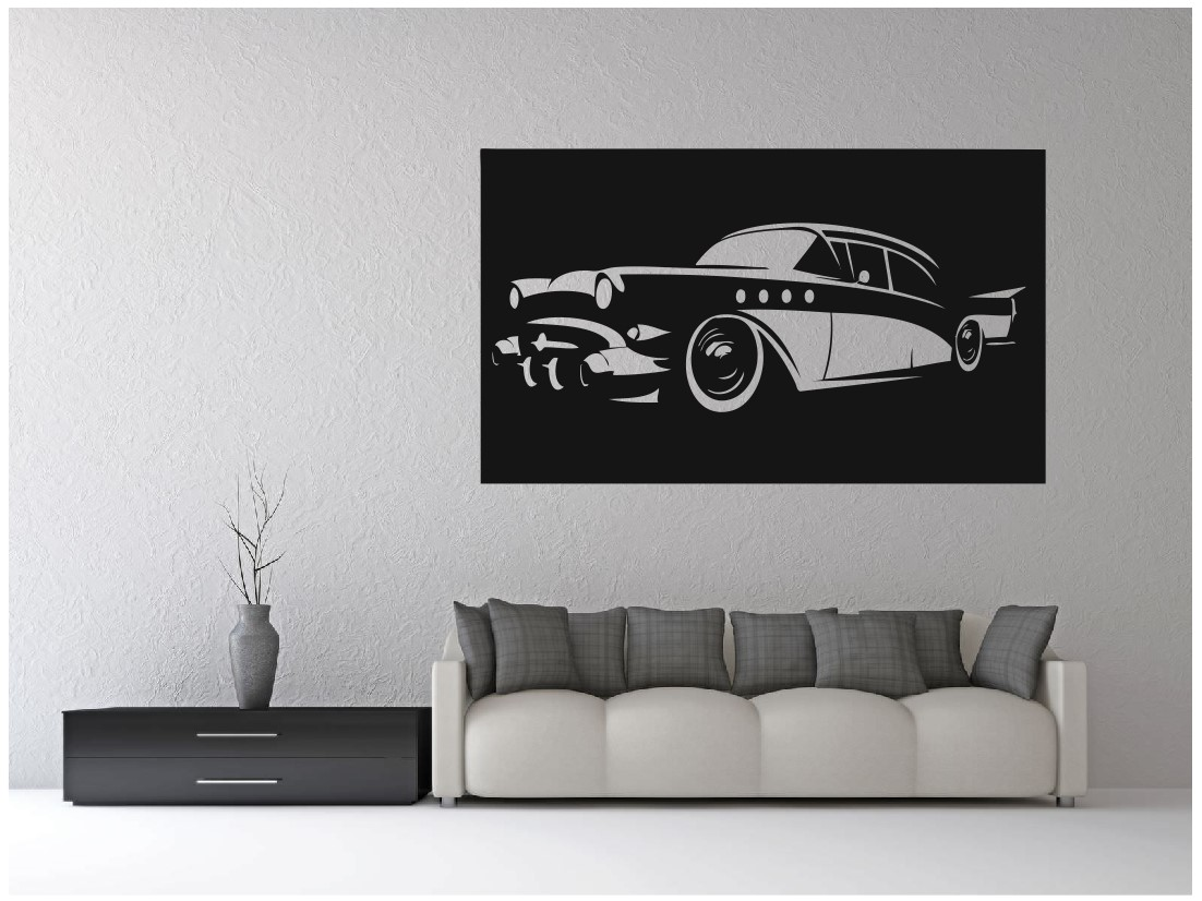 Laser Cut Vintage Classic Car Wall Art Free Vector