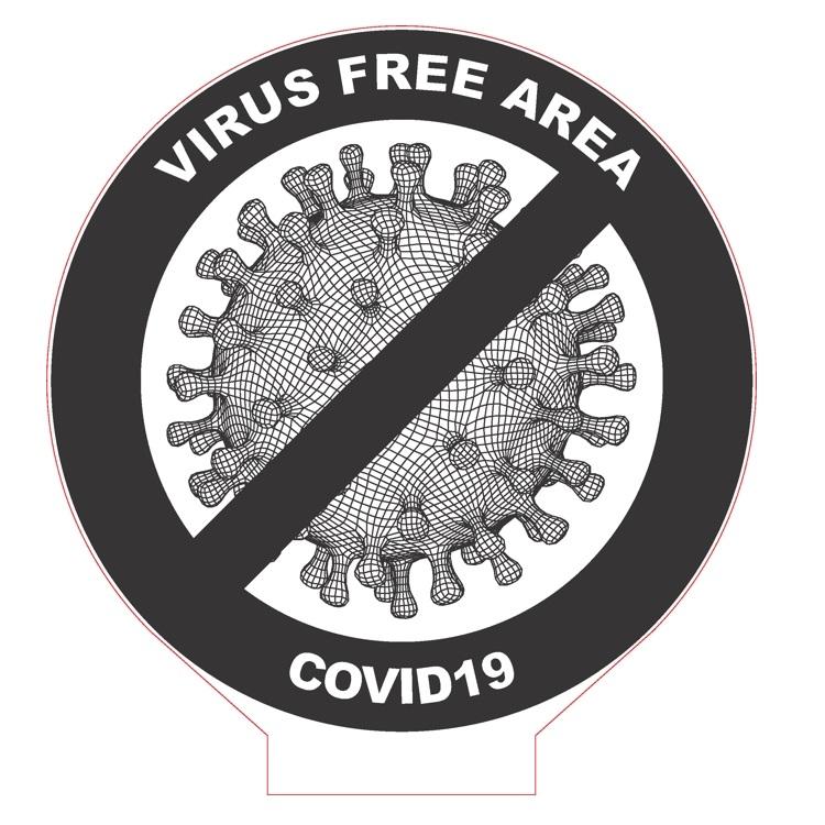 Laser Cut COVID-19 Virus Free Area 3D Acrylic Lamp DXF File