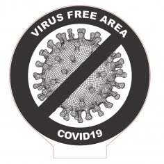 Laser Cut COVID-19 Virus Free Area 3D Acrylic Lamp DXF File