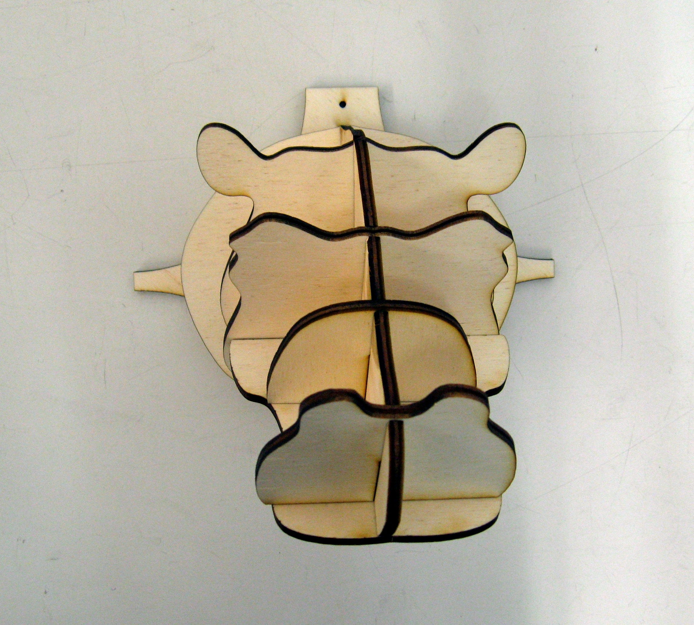 Laser Cut Hippo Head Wall Decor Animal Head Trophy DXF File