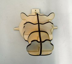 Laser Cut Hippo Head Wall Decor Animal Head Trophy DXF File