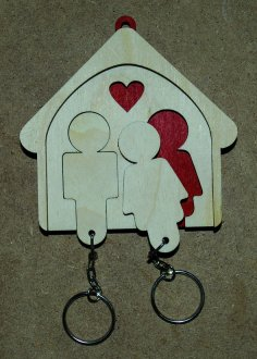 Laser Cut His And Hers Key Holder Wall Mount Key Chain Holder Gift For Couples Free Vector