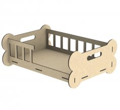 Laser Cut Wooden Dog Bed Puppy Crib Free Vector