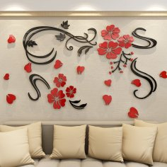 Laser Cut Flower Vine Acrylic Wall Decor Free Vector