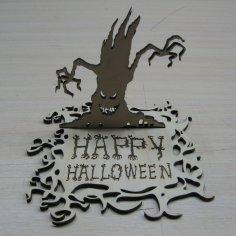 Laser Cut Happy Halloween Standing Decor Wooden Sign Free Vector