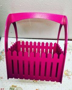 Laser Cut Picket Fence Gift Basket Free Vector