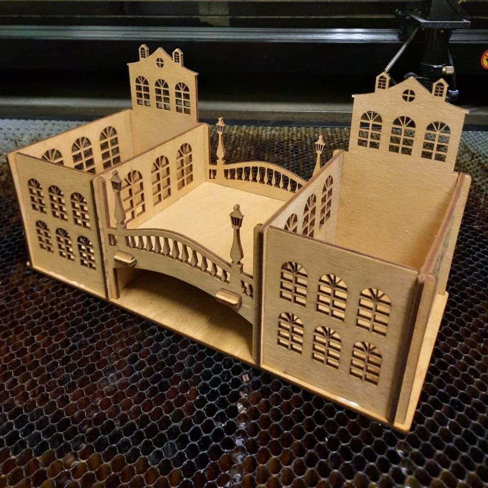 Laser Cut Desk Organizer Old Town Theme Free Vector