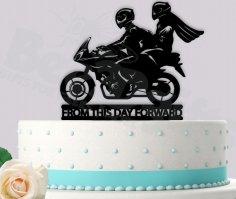 Laser Cut Motorcycle Biker Wedding Cake Topper Free Vector