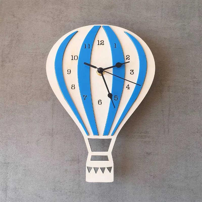 Laser Cut Hot Air Balloon Wall Clock Kids Room Wall Decor Free Vector