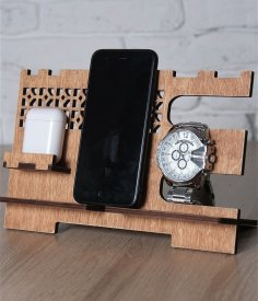 Laser Cut Cell Phone Stand Wooden Docking Station Free Vector