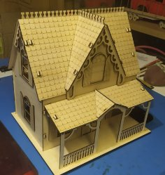 Laser Cut Wooden Decorative Dollhouse Free Vector