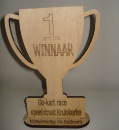 Laser Cut Trophy Cup 6mm Plywood DXF File