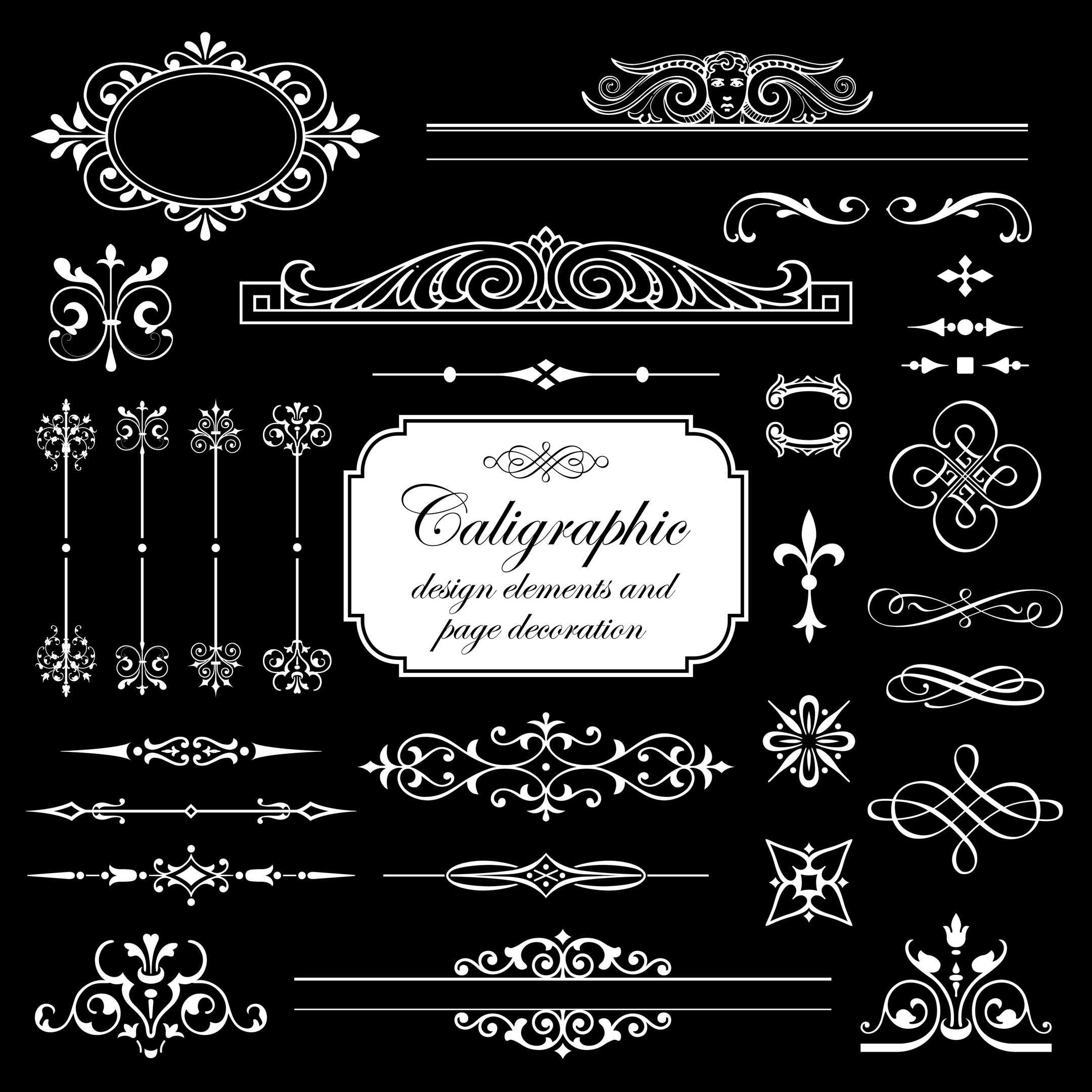 Calligraphic Elements And Page Decoration Isolated On Black Background Vector Set For Design Free Vector
